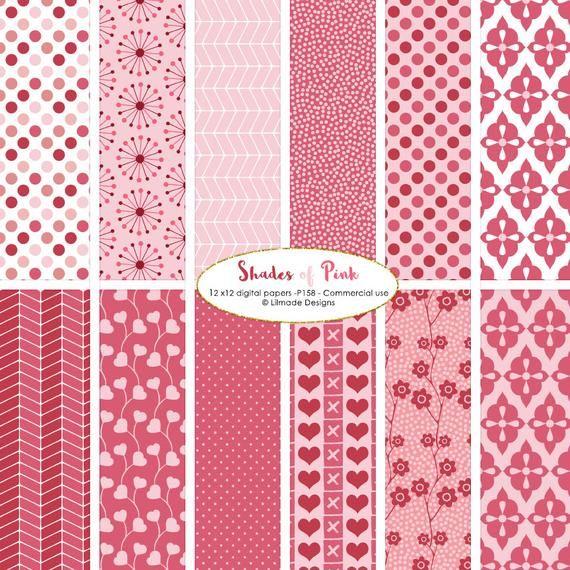 Valentine digital paper, shades of pink digital paper, cherry blossom paper, pink floral paper, pink chevron, asterisk paper, P158