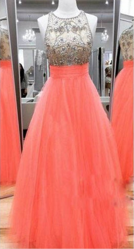 4dbf0485ba Long Coral Tulle Prom Dress with Beaded Illusion Bodice