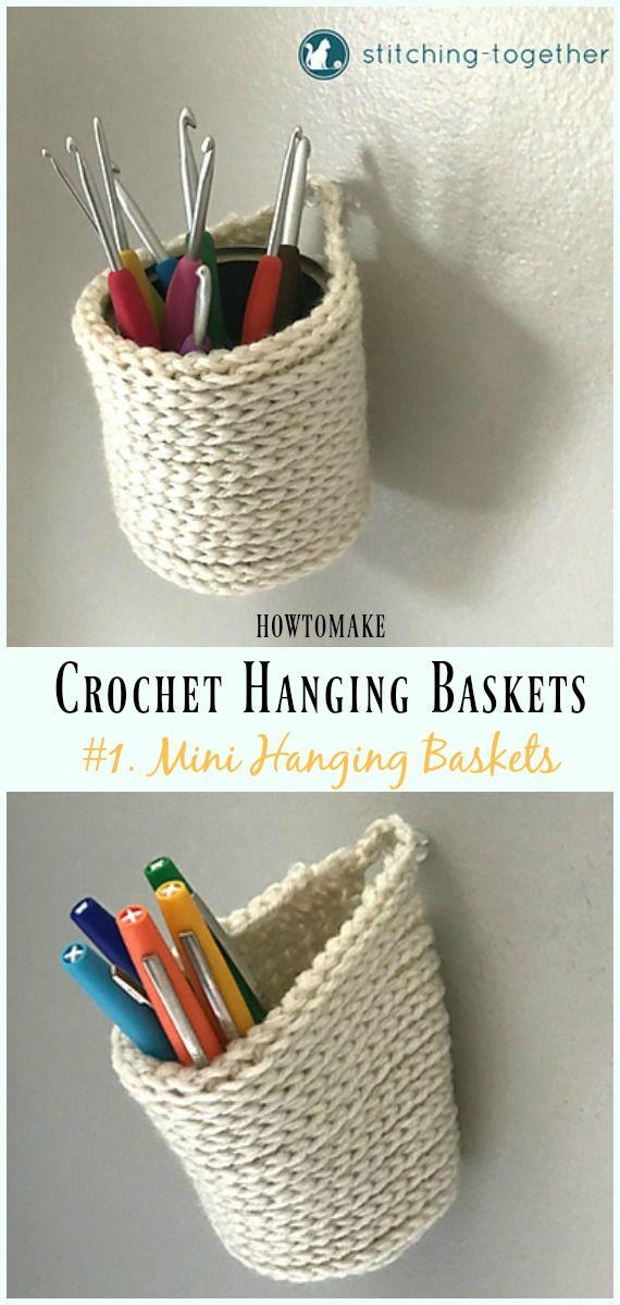 Crochet Mini Hanging Baskets Free Pattern Hanging Basket Free