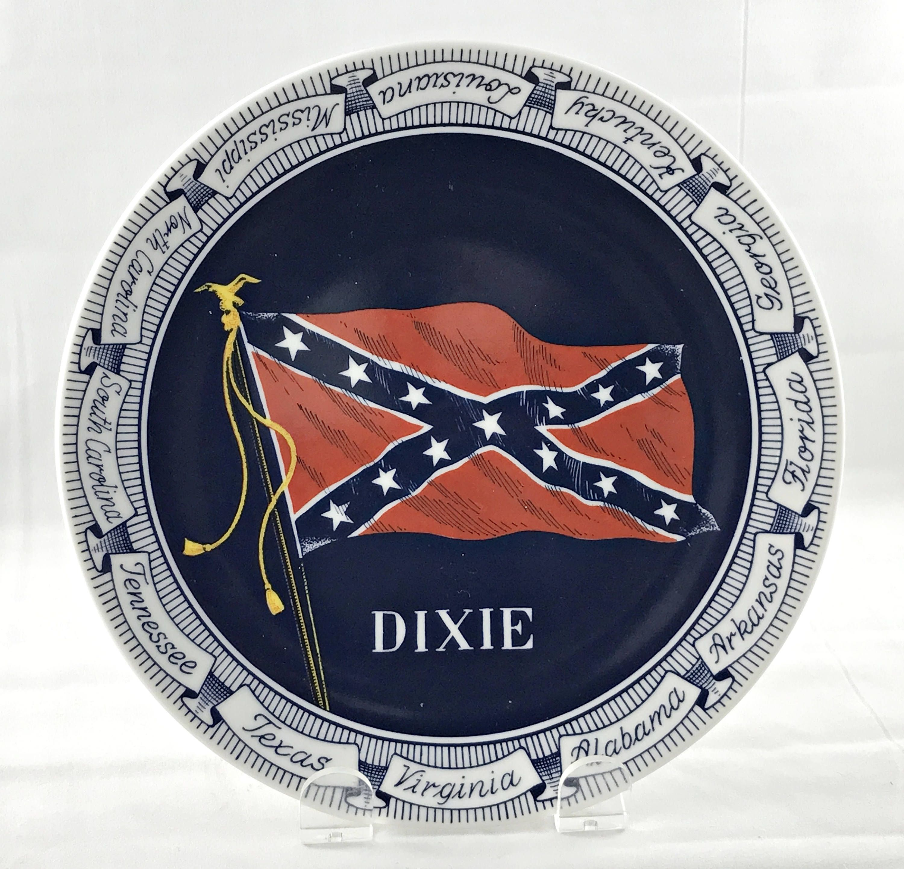 Vintage Confederate States Flag Dixie Plate Civil War Commemorative Red White Blue Made In Denmark By Anniesoldstuff On Ets War Flag Vintage Pottery Blue China
