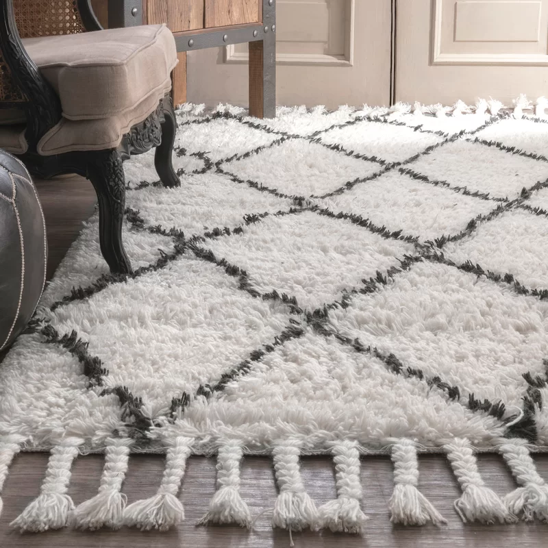 Twinar Hand Knotted Wool Off White Dark Gray Area Rug Home Daydreams In 2019 Rugs White Area Rug Flokati Rugs