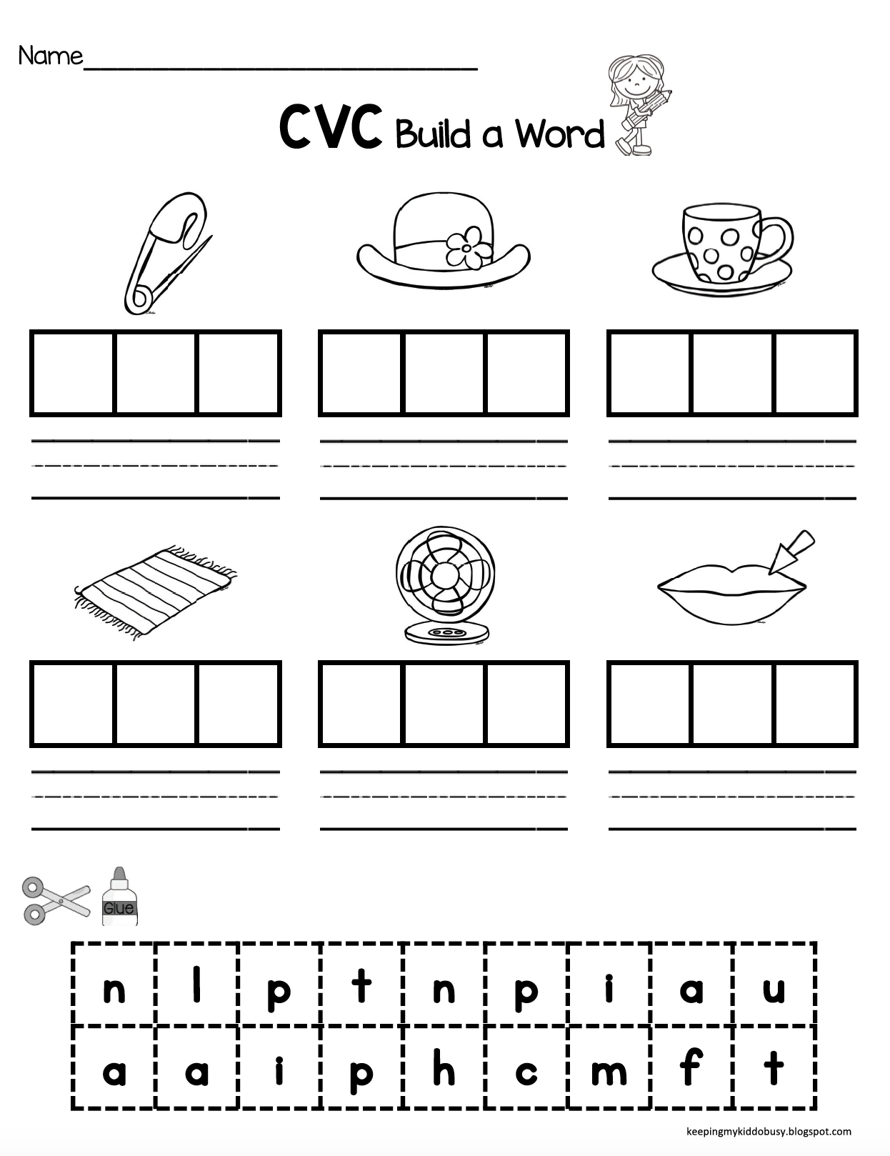 Worksheets Cvc Worksheet cvc words kindergarten pinterest literacy centers worksheet fun and easy way to practice center or cut paste kindergart