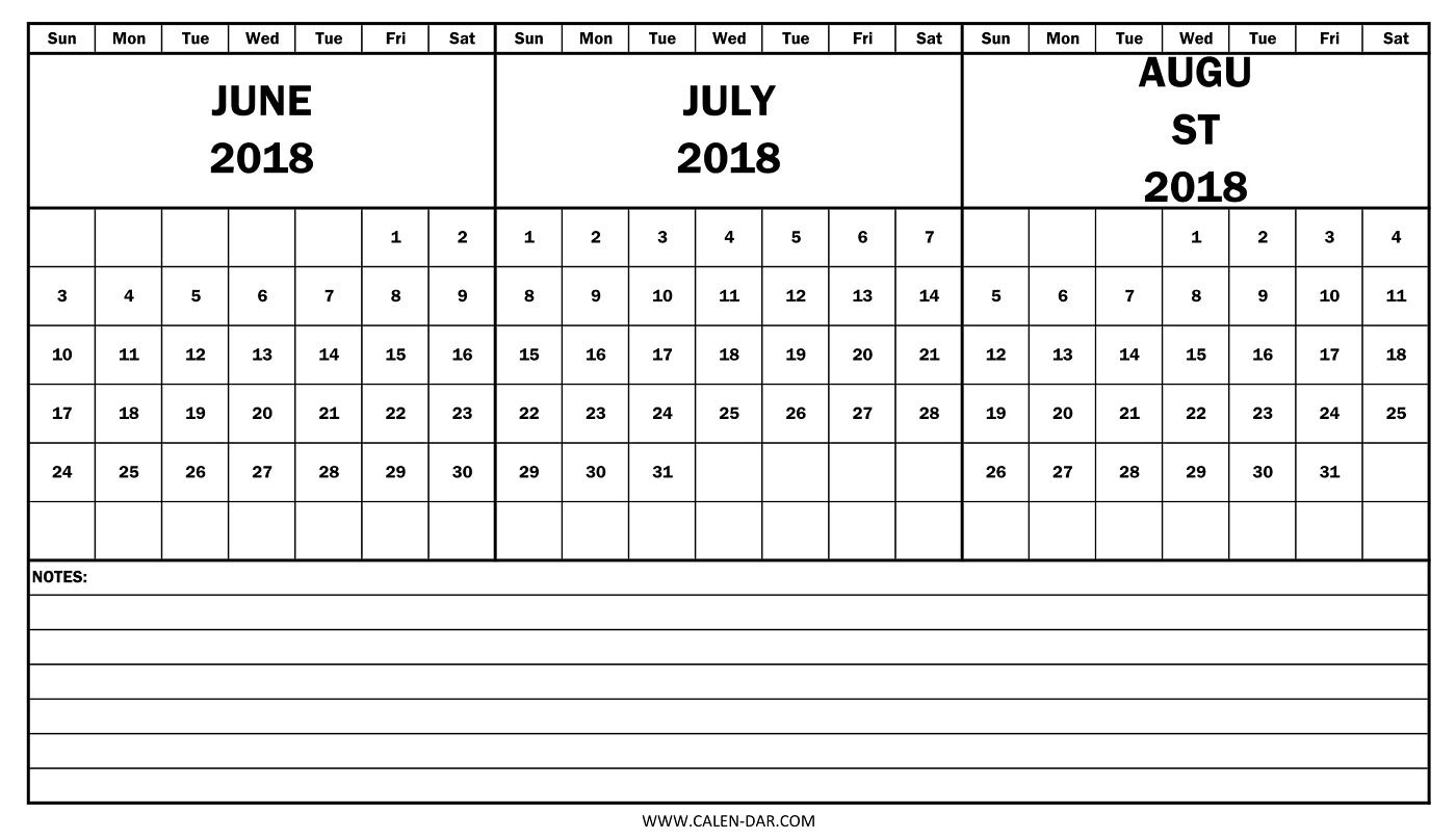 Download Calendar June July August 2018 With Notes Pdf Template