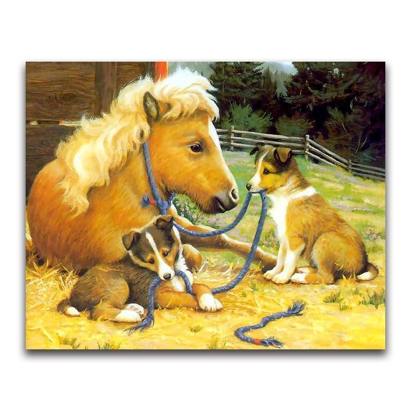 Horse and dog horses and dogs dog art dog paintings