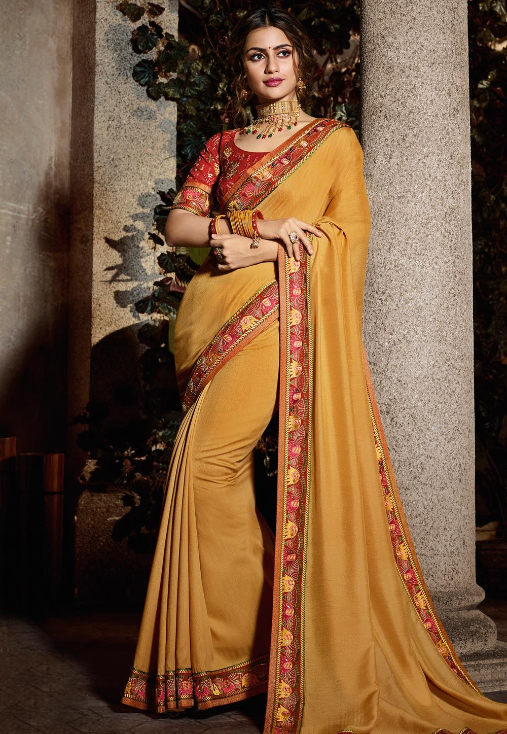 002ffd038d Buy Golden Silk Saree With Blouse 161911 with blouse online at lowest price  from vast collection of sarees at Indianclothstore.com.