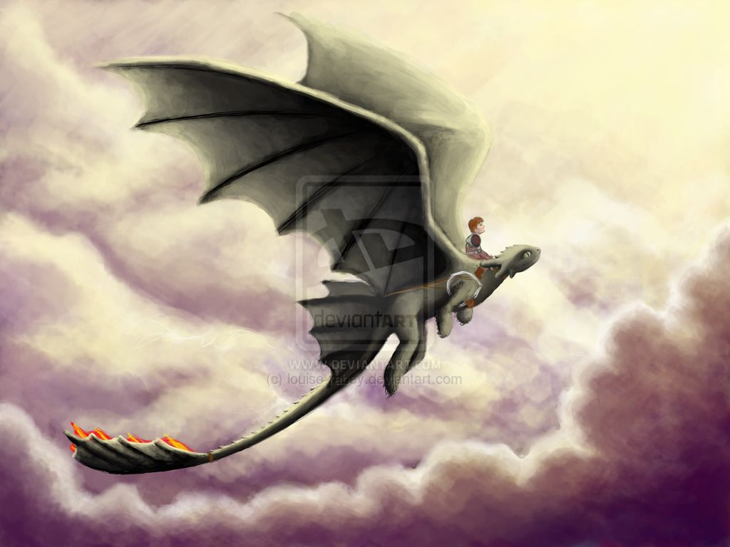 WIP - Hiccup and Toothless flight by louise-rabey.deviantart.com on @deviantART