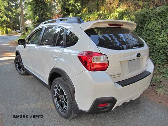 satin white pearl subaru crosstrek, rear view
