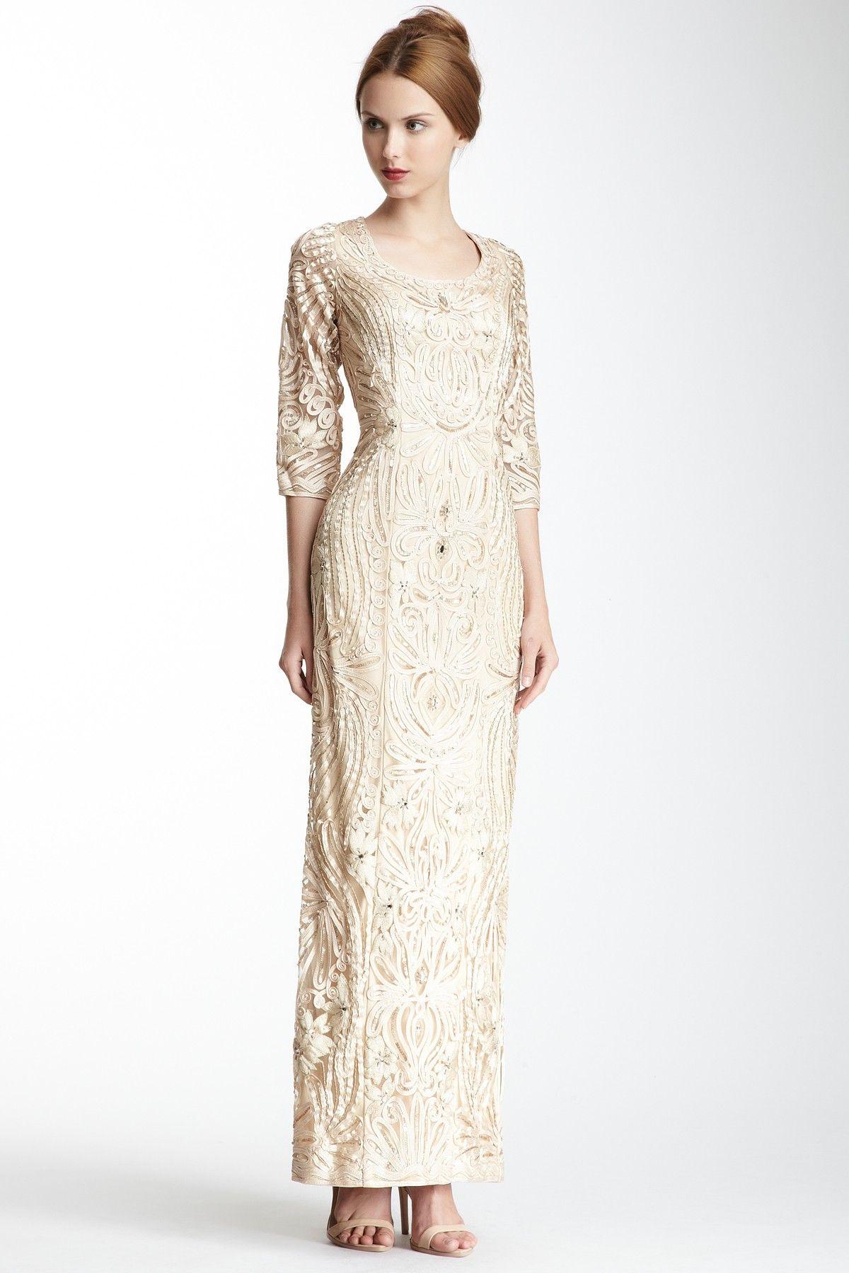 Sue Wong 3/4 Length Sleeve Embroidered Dress// Wedding