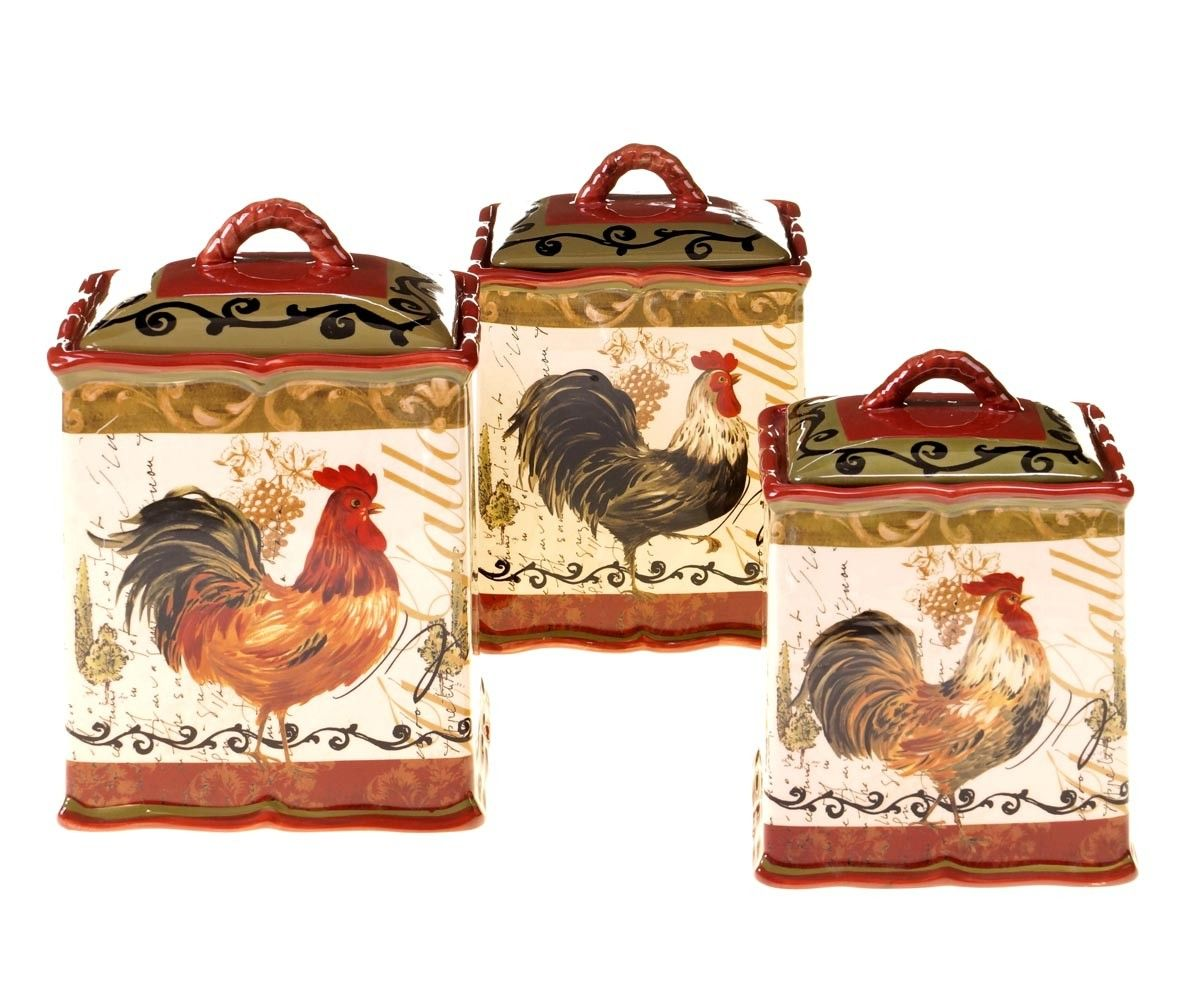 Rustic Kitchen Canister Sets Tuscan Rooster 3 Pc Ceramic Canister Set Chicken And Rooster