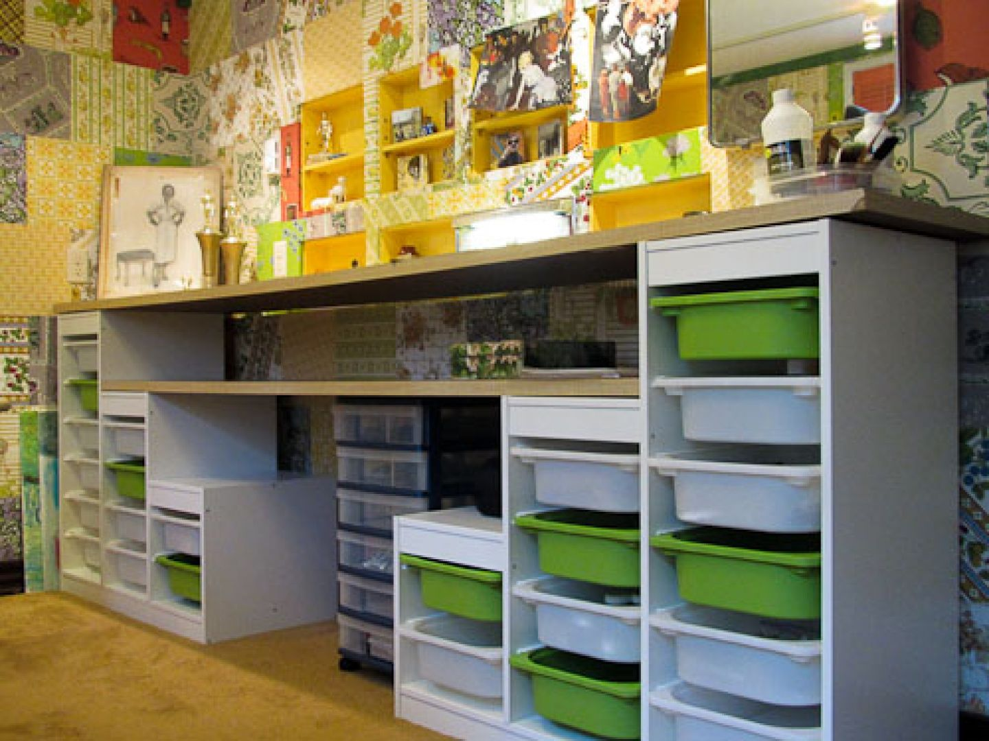 Craft rooms on a budget - Beautiful Art Storage Ideas In Surprising Whiteand Green Rack Drawer With Unique Art Work In Laundry Craft Room