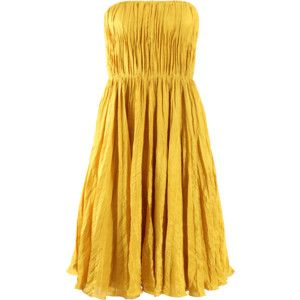 OSCAR DE LA RENTA Strapless Crimpled Pleat Dress