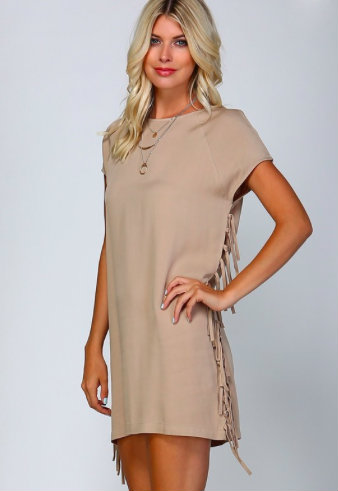 Tan Shift Dress with Side Fringe Detail - Dusty Diamonds Boutique