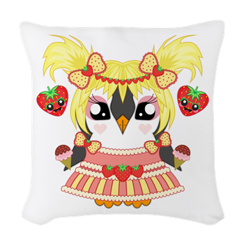 Strawberry Iceguin Woven Throw Pillow #Strawberryiceguin #MrPenguin #Strawberry #Kawaii  #Cute #Penguin #Summer #Sweet #Icecream  #Fruit #Awdorable #Awesome #CafePress