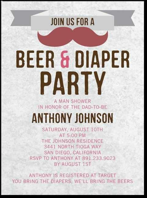 Mens Baby Shower Invitations beer diaper party in honor of the
