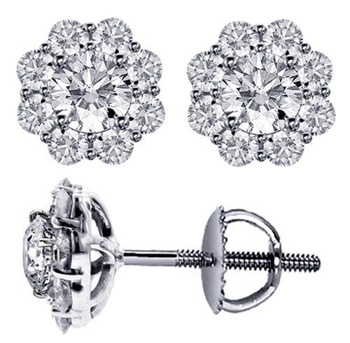 Save $6,998.00 on 1.90 CT TW Briliant Cut Diamond Cluster Stud Earrings in Platinum; only $3,499.00