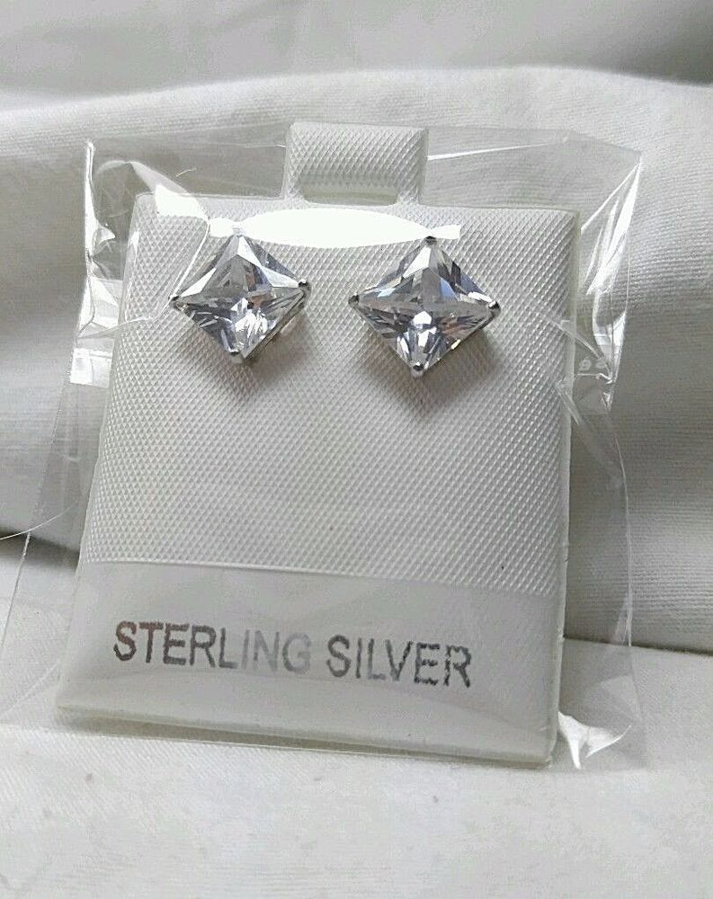 8.5 mm Square Princess Cut Clear Cubic Zircon 925 Sterling Silver Stud Earrings  #Handmade #Stud