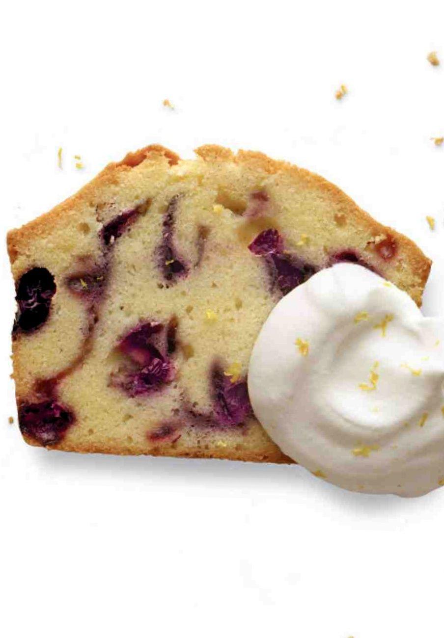 Blueberrysour cream pound cake with lemon cream recipe