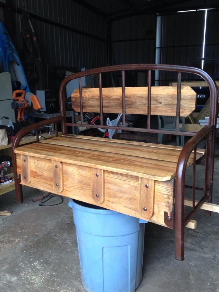 Upcycled Metal Bed Frame Bench Small Farm Fb Site