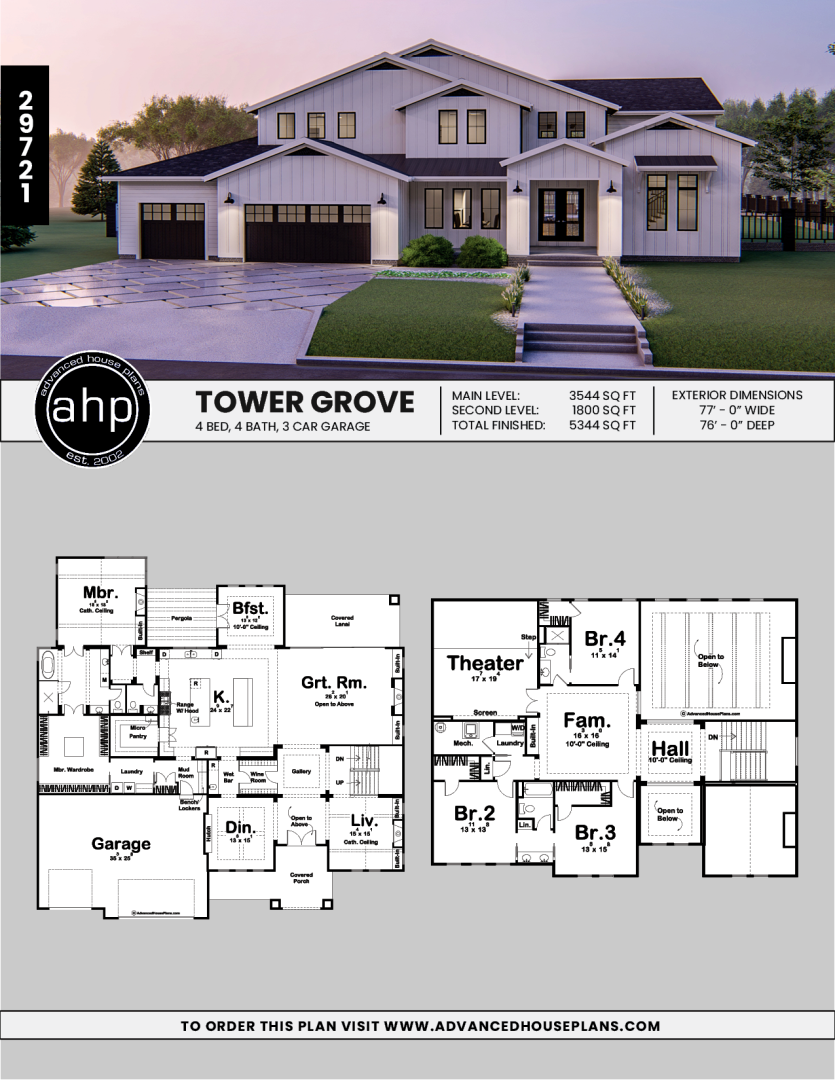 1.5 Story Modern Farmhouse Style House Plan | Tower Grove ...