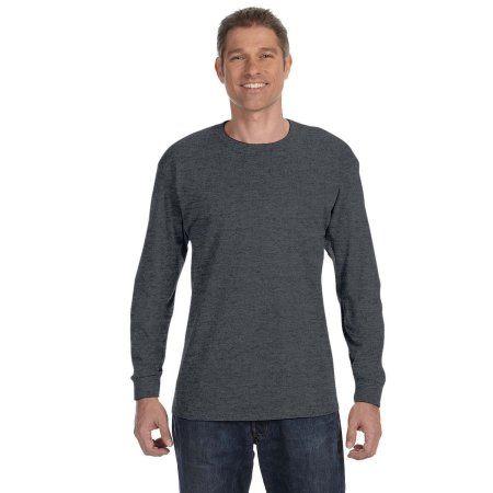 Hanes Men's Tagless Long Sleeve T-shirt, Black