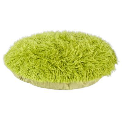 Brite Ideas Living Shag Fur Round Pet Bed with Covered Zipper