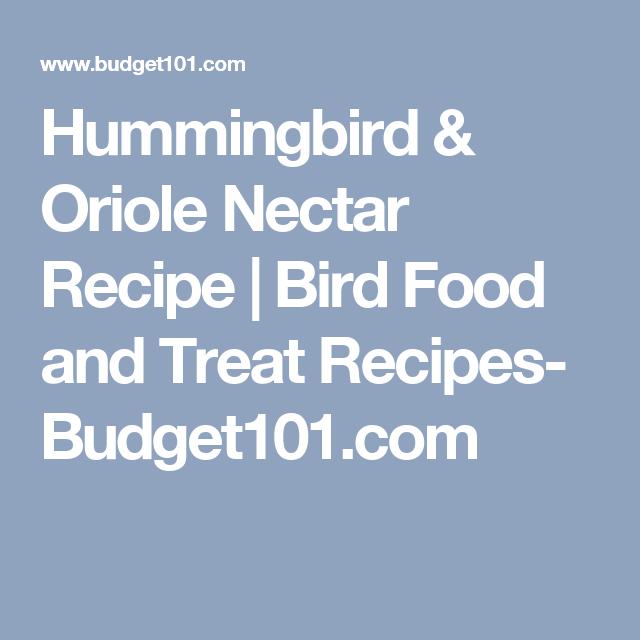 Hummingbird Oriole Nectar Recipe Bird Food And Treat Recipes Budget101 Com Nectar Recipe Hummingbird Food Homemade Hummingbird Food
