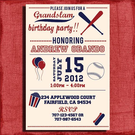 vintage baseball birthday invitation 4x6 or 5x7 invitation printable