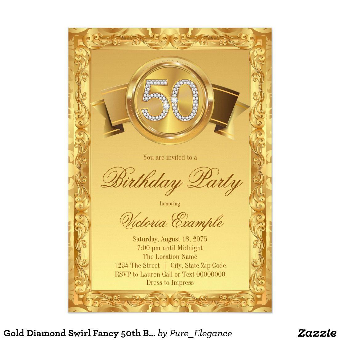 Gold Diamond Swirl Fancy 50th Birthday 5x7 Paper Invitation Card ...