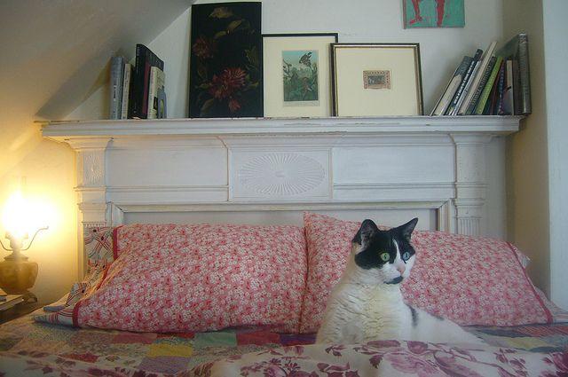 Repurposed fireplace mantle as a headboard - love!