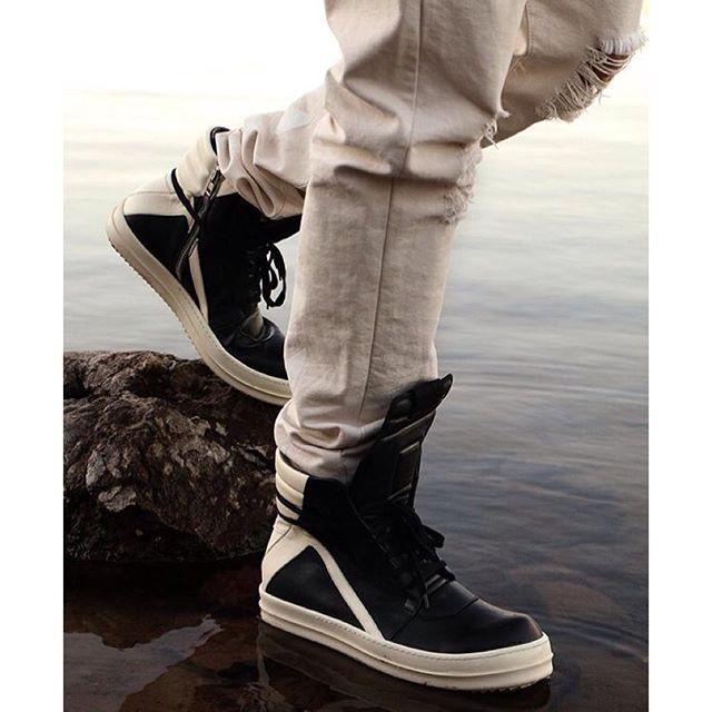 3e2b355591fb4 Rick Owens Geobaskets w/ black laces | Shoes | Boots, Fashion ...