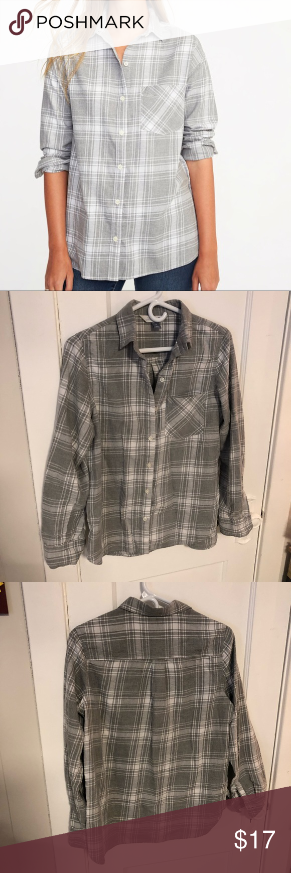 Button up flannel shirts  Gray flannel shirt Comfy grey flannel shirt  wear buttoned up or