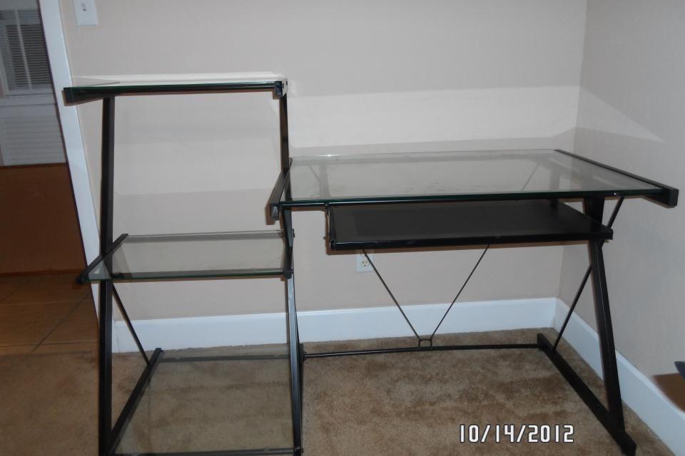 black metal frame glass desk w