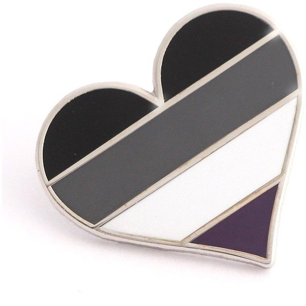 2f7b11191 Pride pin Asexual LGBTQ gay heart flag lapel pin ($12) ❤ liked on Polyvore  featuring jewelry, brooches, pin brooch, heart jewelry, heart jewellery,  heart ...