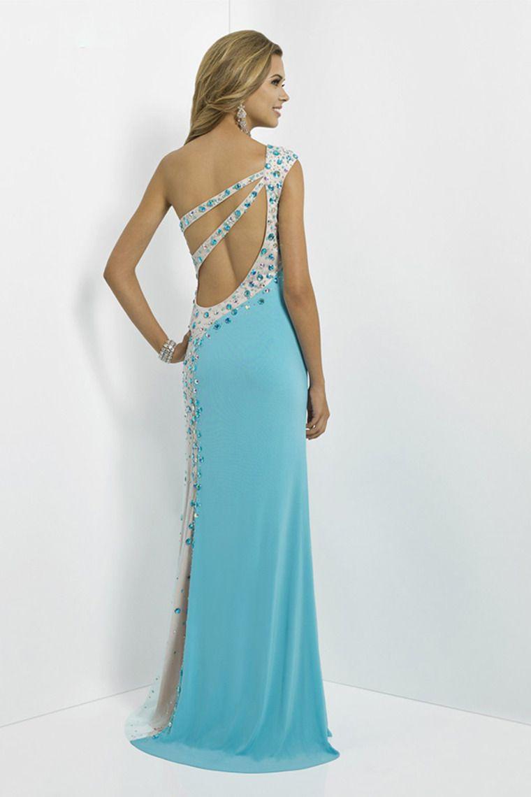 2014 Glorious Long Prom Dresses One Shoulder Sheath/Column Open Back ...