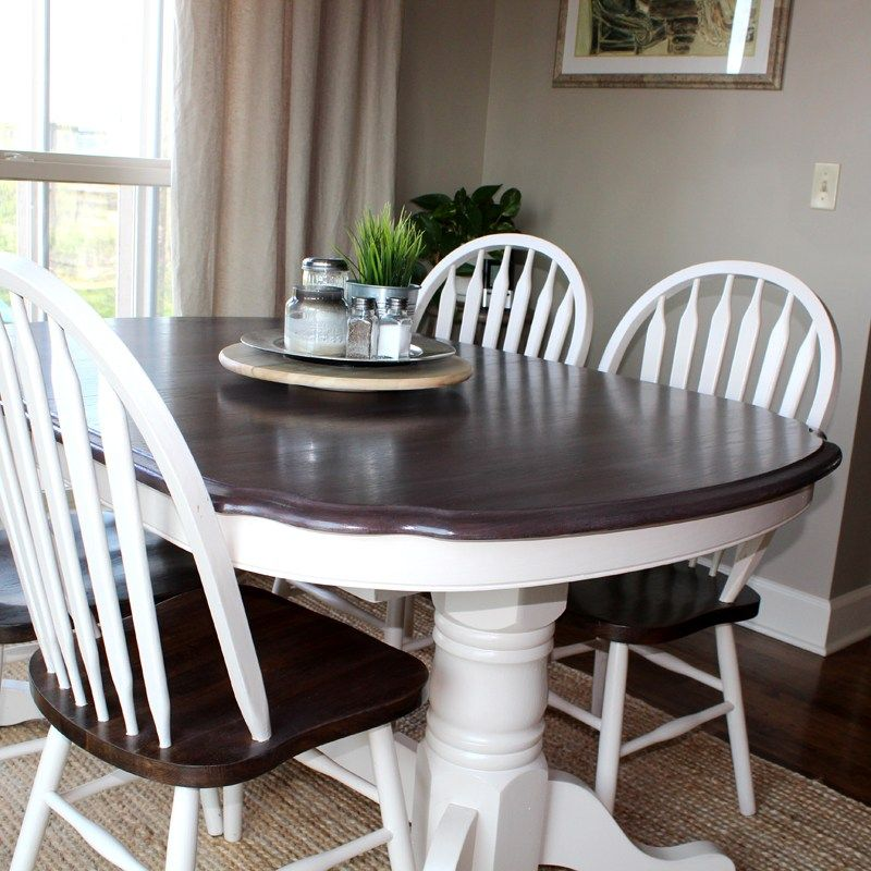 kitchen table makeover using chalk paint and wood stain