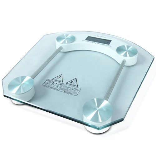 150kg Tempered Glass Digital Electronic Bathroom Scale with LCD Display