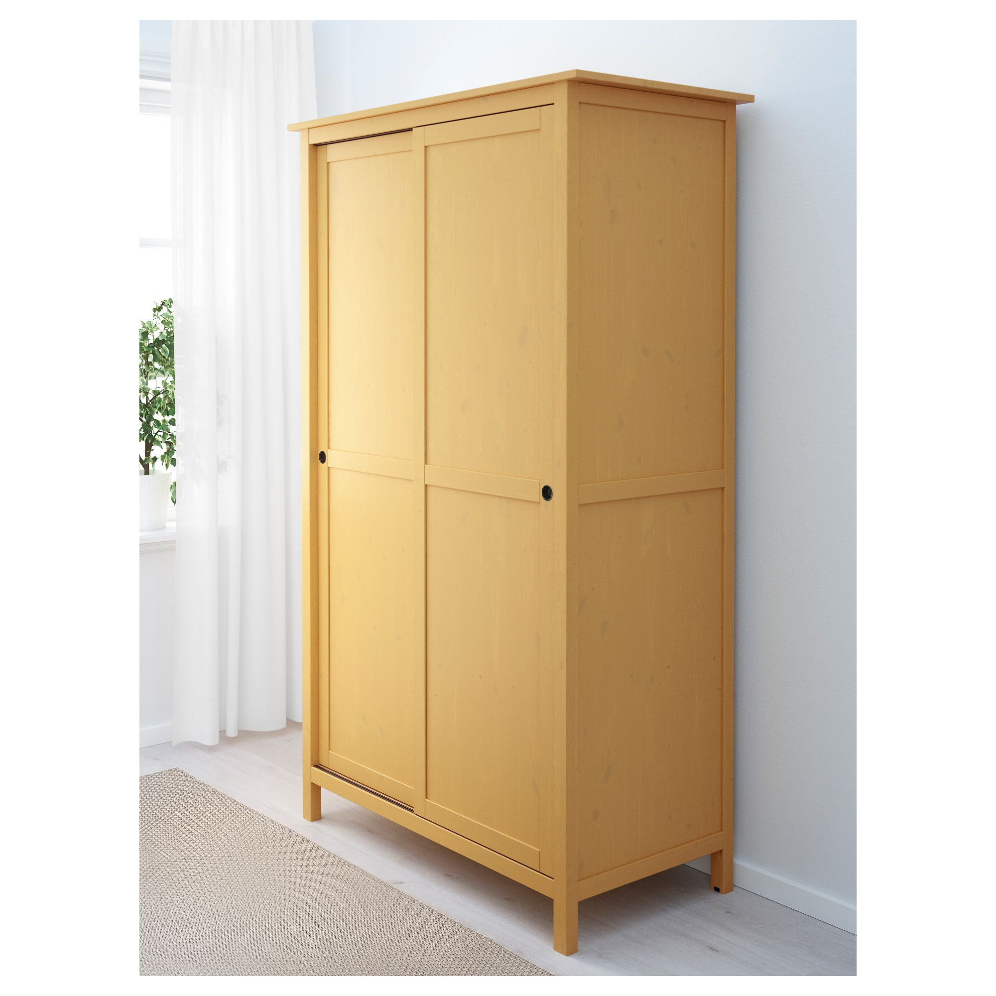 Schrank ikea hemnes  HEMNES Wardrobe with 2 sliding doors Yellow 120x197 cm | Hemnes ...
