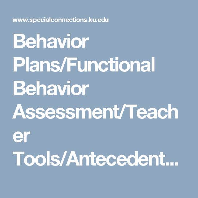 Behavior PlansFunctional Behavior AssessmentTeacher Tools