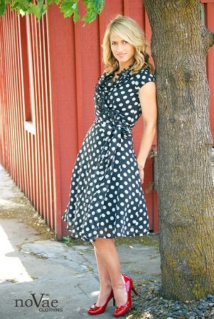 """Polka Dot Ruffle Wrap Dress...I have a dress like this and when I wear it everyone comments on how cute it is! I call it my """"I Love Lucy"""" dress."""
