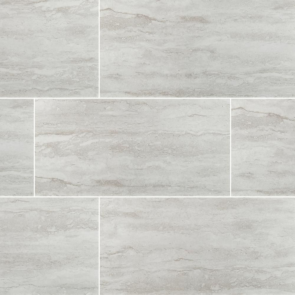 Msi Nyon Gray 12 In X 24 In Polished Porcelain Floor And Wall Tile 2 Sq Ft Nhdnyogra1224p The Home Depot Porcelain Flooring Flooring Ceramic Tile Bathrooms