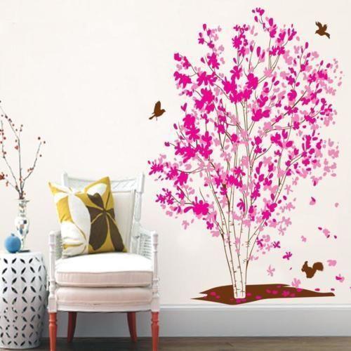 Large Pink Flower Tree Wall Decor Decal Birds Flying Animal Sticker Vinyl Mural Wall Decor Decals Kids Murals Diy Home Decor