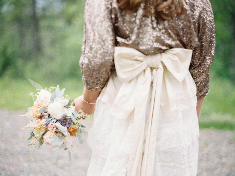 Gold sparkle wedding dress  Montana Elopement from Jeremiah and Rachel Photography  Elopements