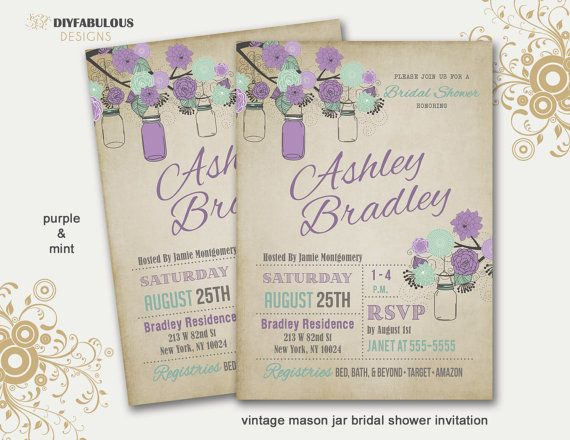 Rustic Bridal Shower Invitation Mason Jar Bridal Shower Invitation Country Bridal Shower Printable Bridal Shower Invitation Vintage