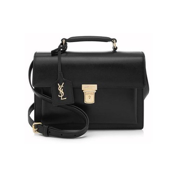 Rental Saint Laurent Calfskin High School Medium Satchel ($200) ❤ liked on  Polyvore featuring bags, handbags, black, crossbody flap purse, crossbod…
