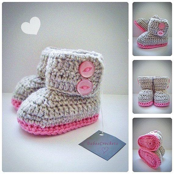 Gray & Pink Crochet Baby Booties Newborn Crochet by BabesCrochets ♥♥