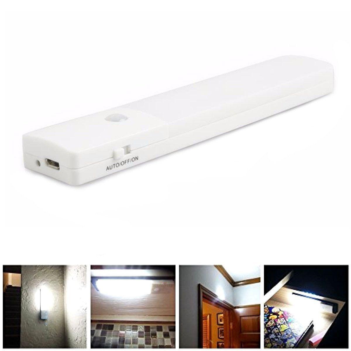 USB Rechargeable LED Under Cabinet Night Light Motion Sensor Kitchen ...