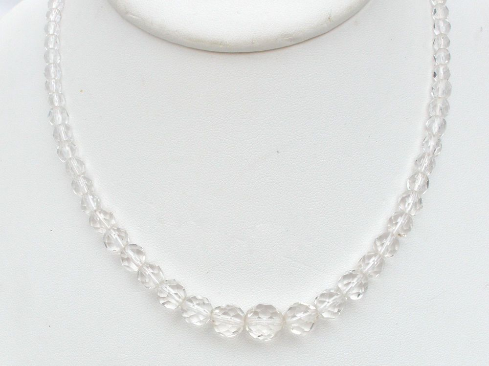 Graduated Clear Crystal Bead Necklace Faceted Beads 17