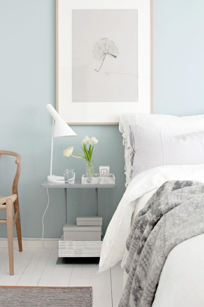 couleur pastel dans la chambre a coucher, peinture murale, mur bleu ...