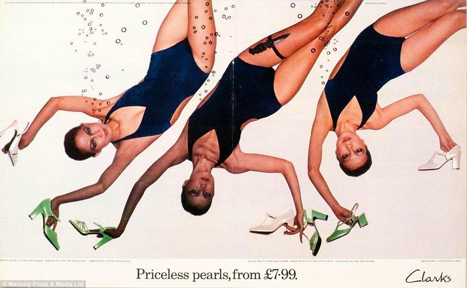 This wistful advert, used in the TV Times Magazine in 1976, shows three woman floating in water while clutching onto some Clarks shoes. The woman in the middle even has a dagger suggestively tucked into her garter