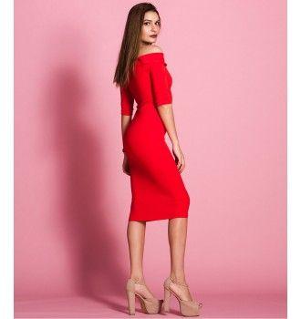 47a951d11fa8 Έξωμο Midi Φόρεμα - Κόκκινο